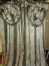 CROSCILL CHAPEL HILL MARQUIS GREEN ROWN DAMASK STRIPE (4PC) PANELS, VALANCES