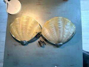Art Deco  Odeon clam shell yellow wall lights chrome