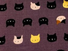 RPFNT34 Japanese Asian Mini Faces Neko Kitty Cat Kitten Gold Cotton Quilt Fabric