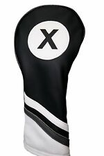 Majek Golf Headcover Black and White Leather Style #X Fairway Wood Head Cover
