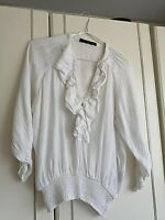 ZARA WOMENS WHITE FRILLY BLOUSE TOP SIZE 12 SMALL 3/4 SLEEVE PIT TO PIT 18 INCH
