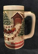 1984 Budweiser Stein Clydesdale Horses Passing Over Covered Bridge