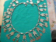 Antique (1860) Russian Silver Coin Necklace, Handmade of 20 and 10 Kopek Coins