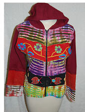 BOHO Hoodie Sweat JACKET Ladybugs Flowers SMALL Burgundy Green Black NEPAL