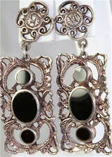 Onyx Pierced Earrings Victorian Copy Sterling Silver