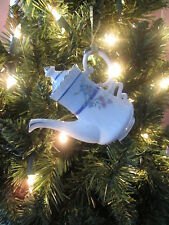 Pale Blue & Pink Floral Design on White China Teapot Ornament, New