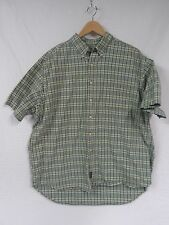 EUC Men's ABERCROMBIE & FITCH Green Yellow Plaid Shirt Large Button up SS