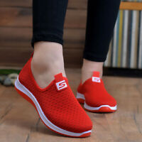 Air mesh sneakers women spring summer slip on platform knitting flats soft Shoes