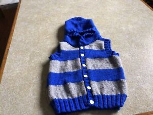 Hand Knitted Boys Hooded Sleeveless Cardigan Age2-3.