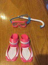 American Girl Lea Snorkle Swim Dive goggles glasses & Fins  NEW !!!!!