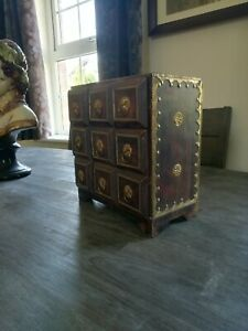 Small Ornate solid Wooden Box and brass and Drawers
