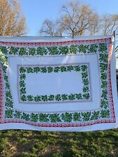 Vintage 1970's Era Green & Red Cotton Blend Holly Christmas Tablecloth