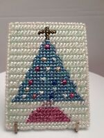 finished completed cross stitch unframed Christmas Tree  bright colors
