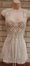 CREAM BEIGE CROCHET KNIT BELTED BEACH BOHEMIAN TUNIC CAMI TOP BLOUSE VEST 14 L