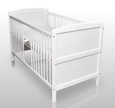 Babybett Kinderbett Gitterbett Weiß umbaubar 140x70 cm  Matratze NEU