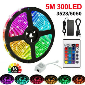 5M 3528 / 5050 LED Strip Lights Stick-on Roll Waterproof Flexible 12Volt Party