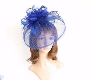 Jumbo Church Derby Wedding Feather floral Sinamay Fascinator Royal Blue 511