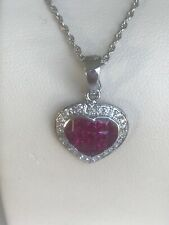 14k Genuine Ruby and Diamonds Heart Pendant Brand New!