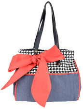 Cute 50s Dogtooth loop Bow Shopper/Borsa Rockabilly