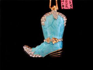 Betsey Johnson Blue Enamel Crystal Lovely Boot Pendant Sweater Long Necklace