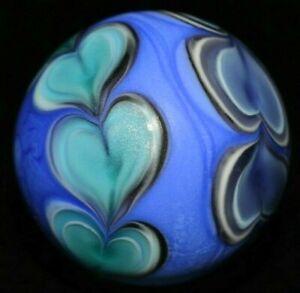 "BRAD PEARSON GLASS MARBLE/1.524""-CHAIN of HEARTS-SANDBLASTED,TURQ.,VIOLET,BLACK+"