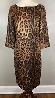 St. John Designer Brown Leopard Print Dress Sz 2 3/4 Sleeves Wool/Silk Sheath