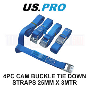 US PRO 4pc Cam Buckle Tie Down Straps Lorry Lashing Roof Rack Trailers 9148