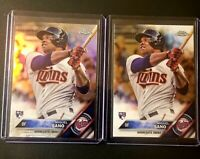 Miguel Sano 2016 Topps Chrome Refractor Rookie Card RC and Reg chrome rc 2 cards