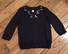 Inc Beach Black Beaded Embellished 3/4 Sleeve Shirt Sz Small