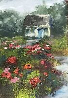 "ACEO ATC Signed Art Print ""Irish Garden Cottage"" Landscape Artist Trading Card"