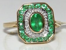 A FINE ART DECO STYLE 9CT YELLOW GOLD EMERALD DIAMOND SQUARE CLUSTER RING M