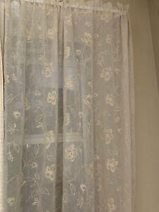 PAIR WINDOW PANELS 54 X 84 AMERICAN LIVING GRANTLEY FLORAL SHEER ROSE BLUE