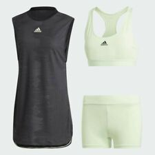 NWT Adidas NY Tennis Dress Black Glow Green tights sports bra set Womens Size XS