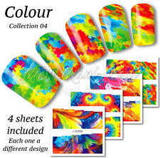 4x Full Cover Nail Art Water Stickers Wraps Transfers Paint Tie-Die Marble Z230