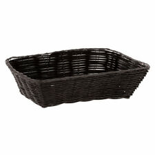 Hubert Bread Basket Black Wicker Rectangular - 9 3/4 L x 6 3/4 W x 2 3/4 H