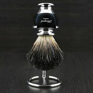 Black Badger Hair Shaving Brush In Black Handle with Stainless Steel Wire Stand