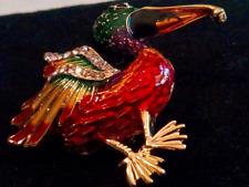 ENAMELED PELICAN BROOCH!Clear Rhinestones.Gold Tone Setting.Bird Lover Gift Pin.