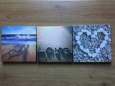 * NEW SET 3 MODERN BEACH LOVE HEART pebble stones sand canvas wall art pictures
