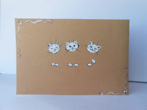 POSTCARD NEW LOVE FAMILY ART RED NEW SMILE HEART SALE cat HOT baby folk animal