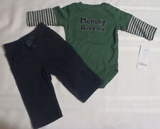 Gymboree Holiday Trains 0-3 month Navy Pants NWOT Green Bodysuit NWT Outfit Set