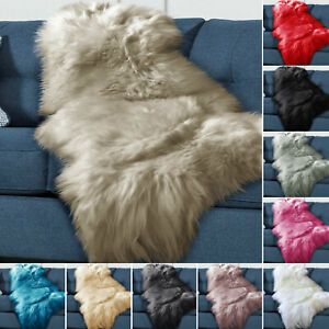 Sheepskin Plain Soft Hairy Shaggy Rug Washable Easy Clean Thick Extra Large