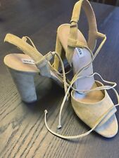 Steve Madden Sand Nude Summer Womens High Heels Shoes Ankle Tie Size:9.5