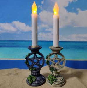 Astrology Pentagram Leaves Candlestick Witch Altar Wiccan Resin Candle Holder
