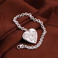 ASAMO Damen Armband mit Herz Medaillon Anhänger 925 Sterling Silber plattiert