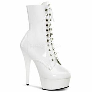 "Pleaser white 6"" ankle high platform stripper boots"