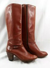 "Womens Leather Knee High Boots Brown Zip Close 9M 2.5"" Stacked Heel Brazil 6030B"