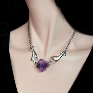 10pcs Witchy chain choker Hands Necklace Amethyst Jewelry Magical Hands Crystal