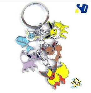 Anime Pokemon 5 Pendants Cartoon Keyring Key Chain Flareon Eevee Vaporeon Gift
