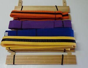 Karate Martial Arts Colorful Belts / 4 Sashes & Wood Wall Rack