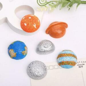 6pc Half Round Resin Space Planets Earth Flatback Buttons for Crafts Decorations